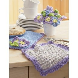 Dishcloth and Pansy Potholder in Lily Sugar 'n Cream Twists