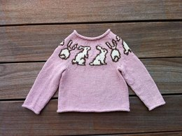 Bunny Yoke Pullover and Hat for Babies and Children