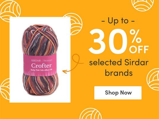 Up to 30 percent off selected Sirdar brands!