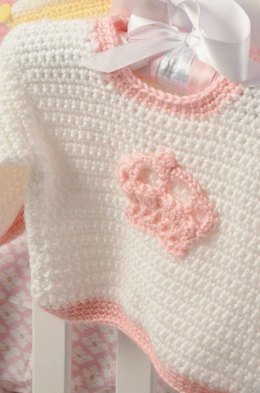Little Princess Crown Sweater in Red Heart Soft Baby Steps Solids - LW3636-G