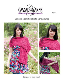 Celebrate Spring Wrap in Cascade Yarns Venezia Sport  - DK184 - Downloadable PDF
