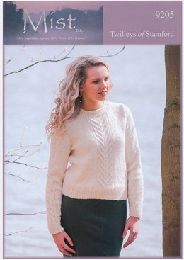 Ladies Cable Design Sweater in Twilleys Mist DK