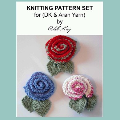 Mary 3 x Rose Flower Brooches Pins Corsages DK and Aran Yarn Knitting Pattern by Adel Kay