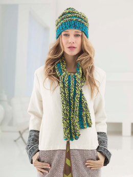 Stripe And Ridge Hat And Scarfin Lion Brand Hometown USA Multi - L40018