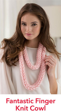 Fantastic Finger Knit Cowl in Red Heart Grande - LW4649EN