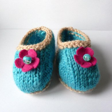 Terrific Turquoise and Lacy Lime Baby Shoes