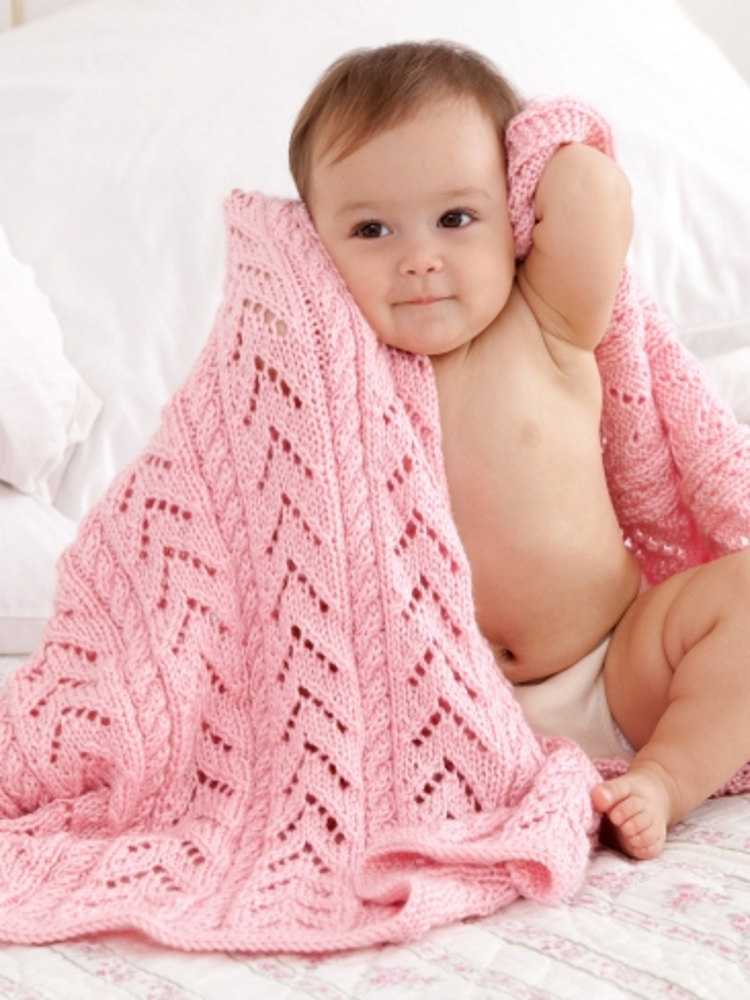 Little Girl Pink Baby Blanket In Caron Simply Soft