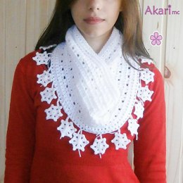 Infinity scarf / cowl with Snowflake fringes _ M28
