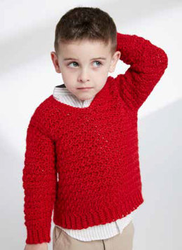Child's Crochet V-Neck Pullover in Caron Simply Soft - Downloadable PDF