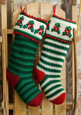 Holly & Berry Stockings in Red Heart Super Saver Economy Solids - LW2631