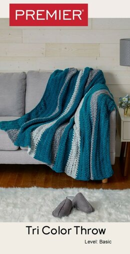 Parfait Tri-Color Throw in Premier Yarns Parfait Big - Downloadable PDF
