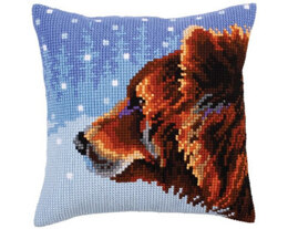 Collection D'Art Winter Bear Cross Stitch Cushion Kit - 40cm x 40cm