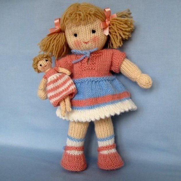 Free Knitted Doll Pattern : Lulu - Knitted Doll Knitting pattern by Dollytime Knitting Patterns LoveK...