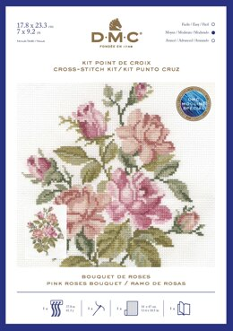 DMC Pink Roses Bouquet Cross Stitch Kit