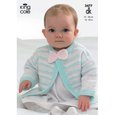 Hooded Jacket, Cardigans, Waistcoat and Hat in King Cole DK - 3477
