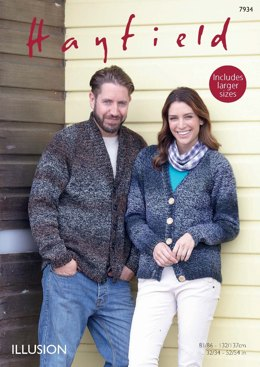 Shawl Collar and V Neck Cardigans in Hayfield Illusion - 7934 - Downloadable PDF
