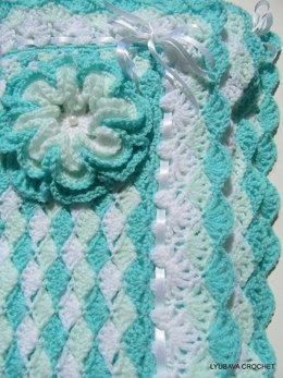 "Crochet Pattern Baby Blanket ""Turquoise Sea Shell"" Tutorial"