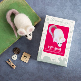 Hawthorn Handmade White Mouse Mini Needle Felting Kit - Brooch