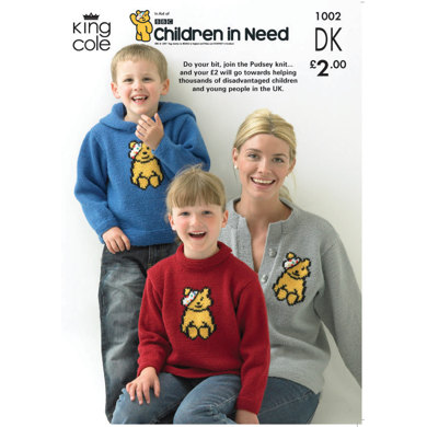 Children in Need Pudsey Bear Sweaters and Cardigan Knitted in King Cole DK - 1002