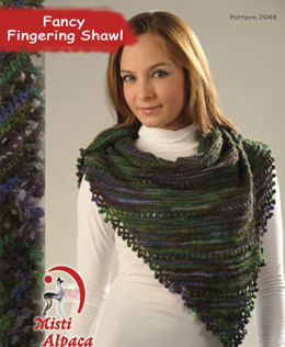 Fancy Fingering Shawl in Misti Alpaca Hand Paint Sock - 2048