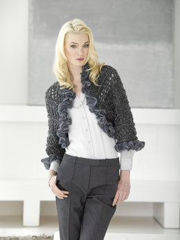 Openwork Knit Shrug in Lion Brand Homespun Thick & Quick - L30280