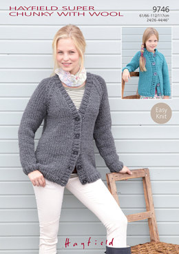 Raglan Cardigans in Hayfield Super Chunky with Wool and Ultra with Wool - 9746