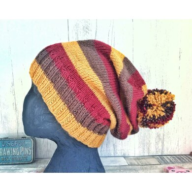 Striped Slouch Bobble Hat