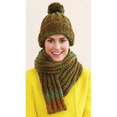 Rustic Ribbed Hat and Scarf in Lion Brand Tweed Stripes - L0611H