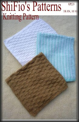Knitting Pattern 3 baby blankets/afghans UK & USA Terms # 229