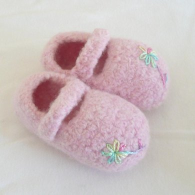Felted Baby Mary Janes