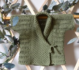 Quick Knit Baby Vest with Shawl Collar - P051