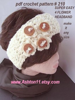 Super Easy 4 Flower Headband | Crochet Pattern 210
