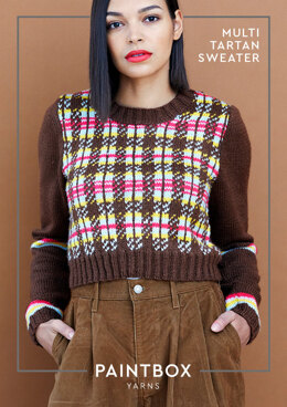 Multi Tartan Sweater in Paintbox Yarns Simply DK - Downloadable PDF