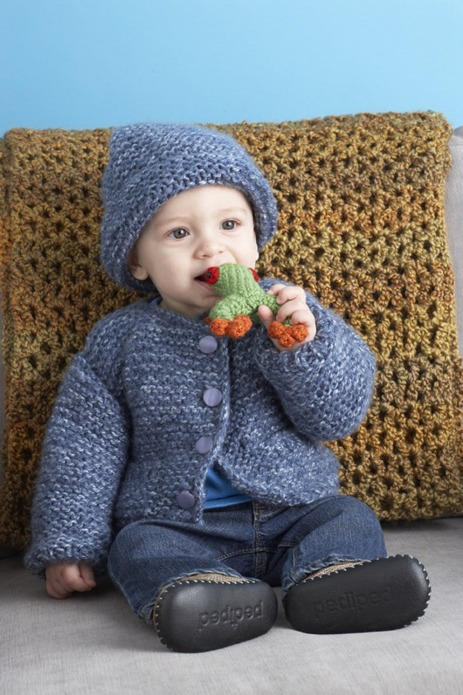 Snuggle Baby Cardigan And Hat in Lion Brand Jiffy - 80873AD Knitting Patter...