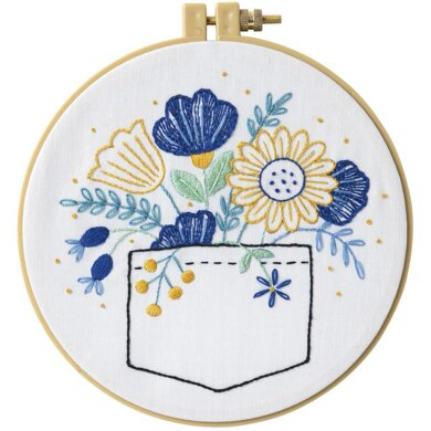 Bucilla Stamped Embroidery Kit - Pocket Full Of Posies - 8.25in