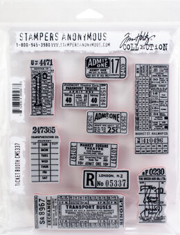 """Stampers Anonymous Tim Holtz Cling Stamps 7""""X8.5"""" - Ticket Booth"""