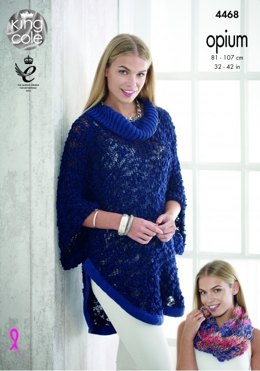 85fe96308 Poncho Cape and Snood in King Cole Opium Opium Palette   Cottonsoft DK -  4468 -