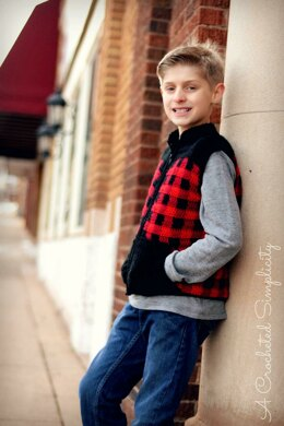 Kids Plaid  Zipper Front Vest