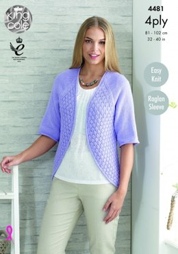 Cardigan and Bolero in King Cole Bamboo Cotton 4 Ply - 4481