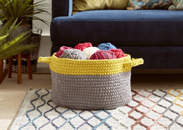 Dip Edge Grey Crochet Basket in Bernat - Downloadable PDF