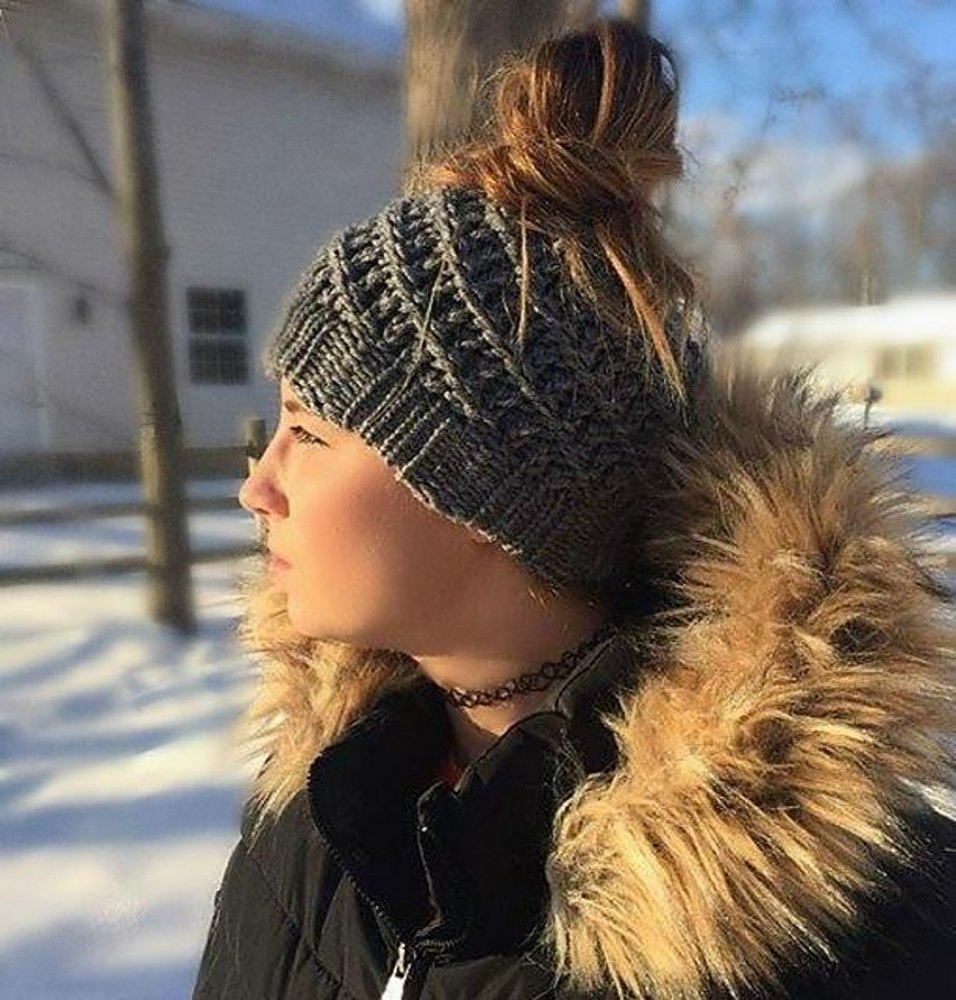 Loom Knit Pattern Messy Bun Hat bd7f72b0d0a