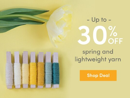 Up to 30 percent off spring and lightweight yarn!