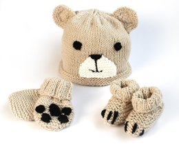 Easy baby bear hat, booties & mittens