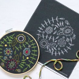 Hawthorn Handmade Black Spring Posy Embroidery Kit