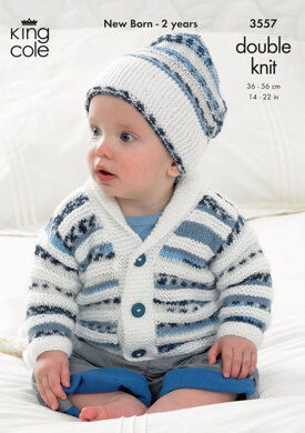 Sweater, Jacket and Hat in King Cole DK - 3557