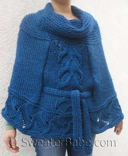 #145 Cowl Neck Belted Poncho