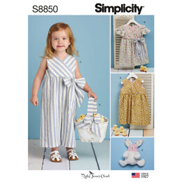 Simplicity S8850 ToddlersDress, Jumpsuit, Basket and Toy - Paper Pattern, Size A (1/2-1-2-3-4)
