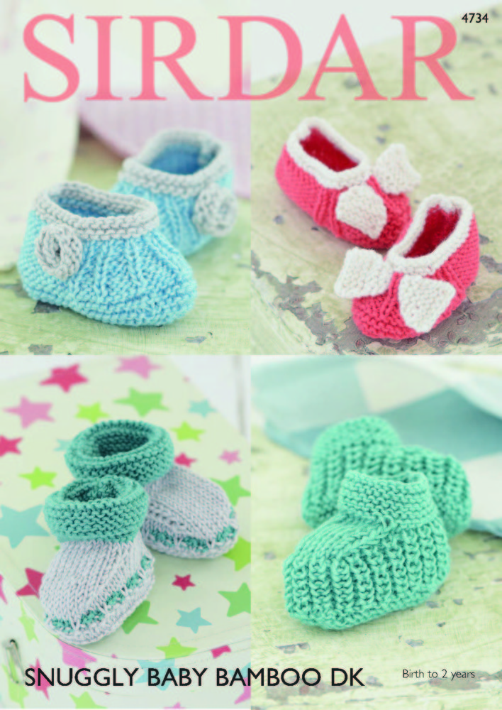 Bootees And Shoes In Sirdar Snuggly Baby Bamboo Dk 4734