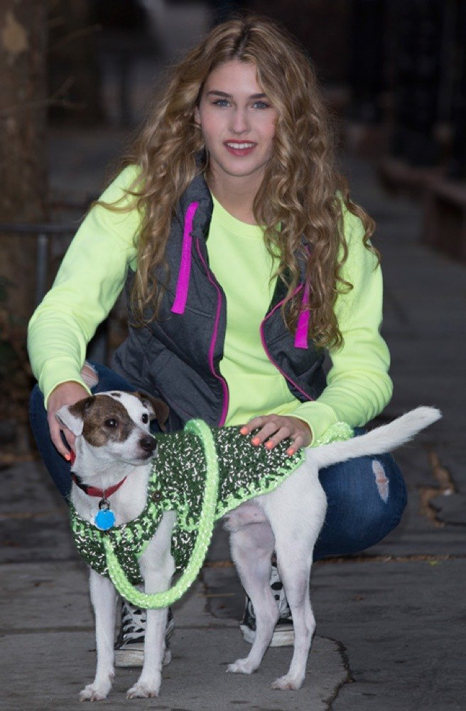 Flashy Dog Sweater And Leash In Red Heart Reflective Lw4143