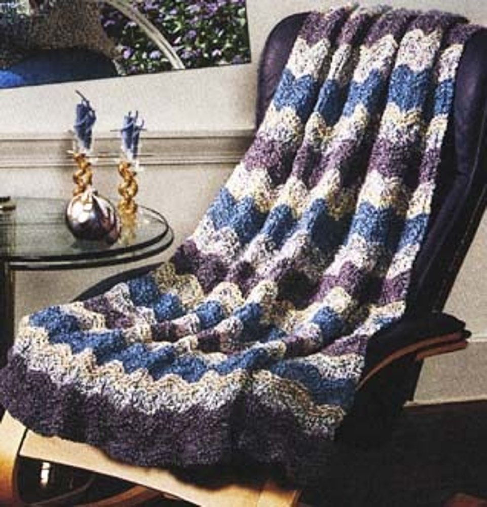 Catch The Wave Afghan In Lion Brand Homespun 734